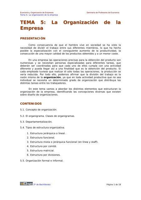 Tema 5 La Organizaciã N De La Empresa Ecobachillerato