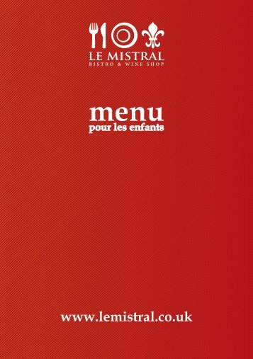 Menu Les Enfants (Children's Menu) - Ever So Sensible