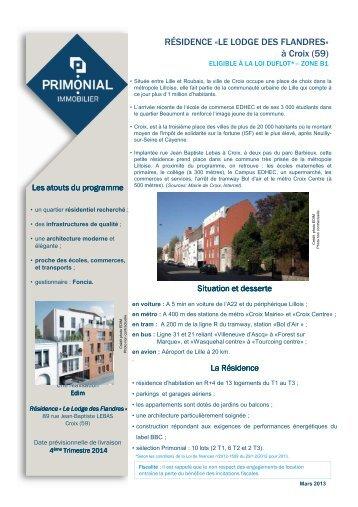 01- Fiche programme - Le Lodge des Flandres - Primonial Immobilier