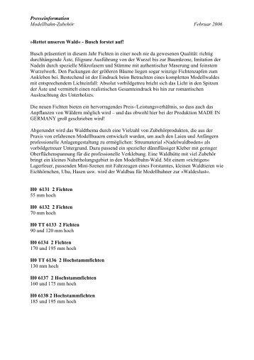 Modellbahn-Zubehör Neuheiten 2006: Presseinfo anl - Busch