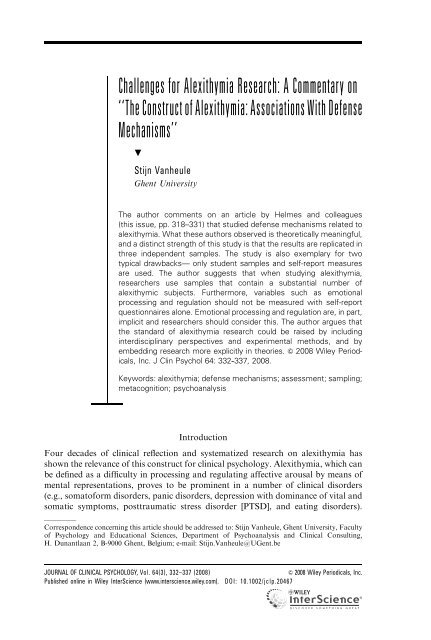 The Construct Of Alexithymia Paulollanescruz Comyr Com
