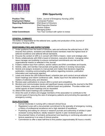 ENA Opportunity - Emergency Nurses Association