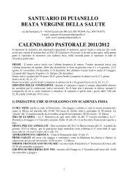 Calendario Pastorale 2011-2012 - Santuario di Puianello