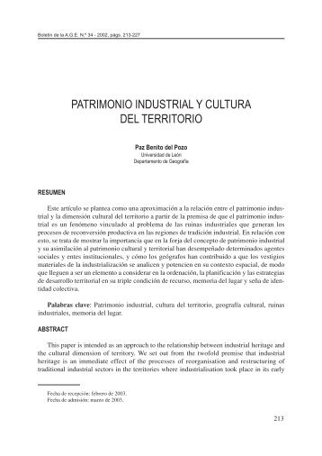 PATRIMONIO INDUSTRIAL Y CULTURA DEL TERRITORIO - Dialnet