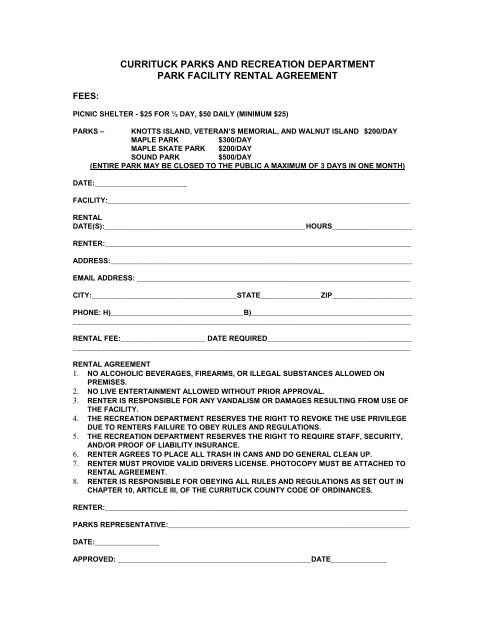 Facility Rental Agreement Currituck County Government