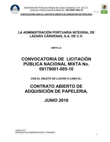 CONVOCATORIA DE LICITACIÓN PÚBLICA NACIONAL MIXTA No ...