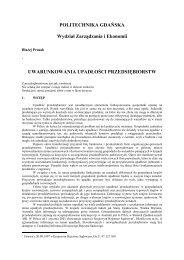 Uwarunkowania upadłości przedsiębiorstw - Wydział Zarządzania i ...