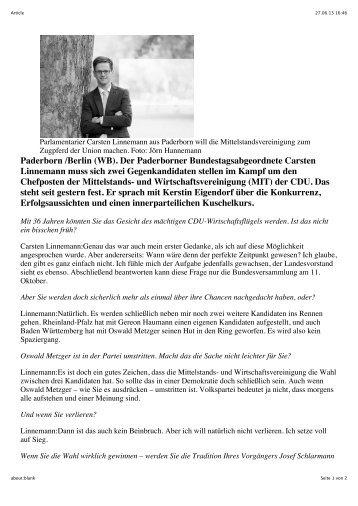 Paderborn /Berlin (WB). Der Paderborner Bundestagsabgeordnete ...