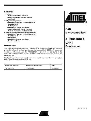 AT89C51CC03 UART Bootloader Datasheet