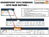 Cheatsheet - SharePoint 2010 Ribbons v1.0