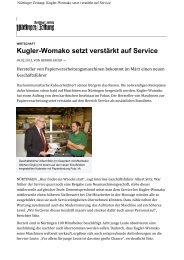 Kugler-Womako setzt verstärkt auf Service