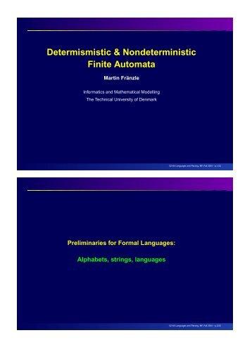 Deterministic Finite Automata (DFA) Nondeterministic Finite Automata