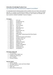 Provisional list of papers to be offered - Faculty of Law - University of ...