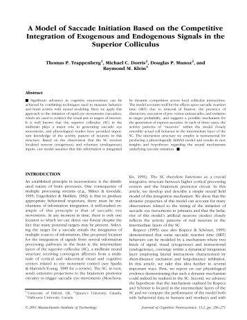 A Model of Saccade Initiation Based on the Competitive Integration ...