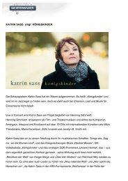 Pressetext Katrin Sass Königskinder - Meistersinger