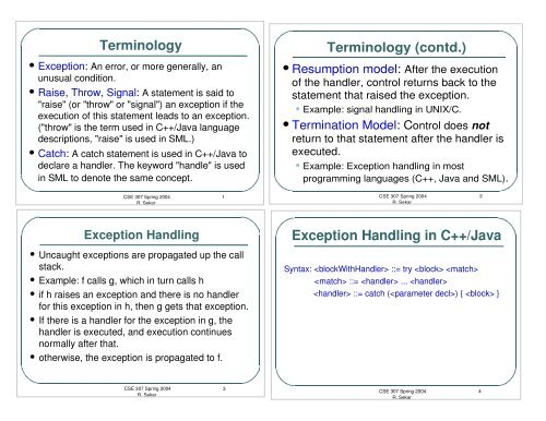 Exception Handling in C++/Java