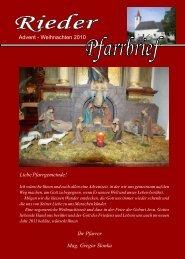 Advent - Weihnachten 2010 Ihr Pfarrer Mag. Gregor Slonka Liebe ...