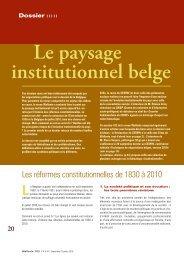 Le paysage institutionnel belge - Conseil économique et social de la ...