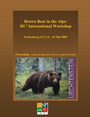 Brown Bear in the Alps: III ° International Workshop - Medvede SK