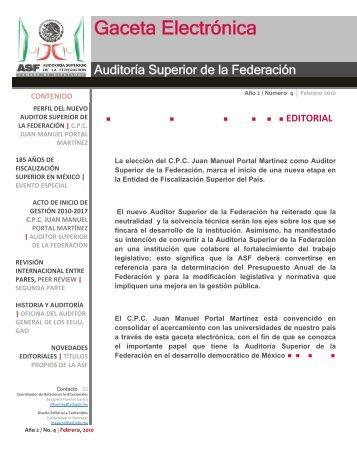 Año 2 / Número 4 | Febrero 2010 - Auditoría Superior de la Federación