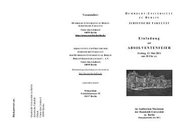 Einladung ABSOLVENTENFEIER - Bibliotheksgesellschaft ...
