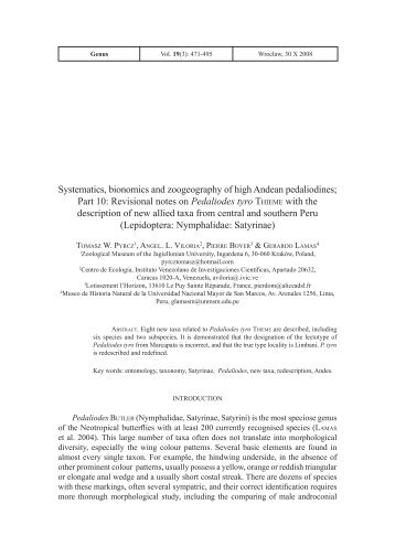 Systematics, bionomics and zoogeography of high Andean ...