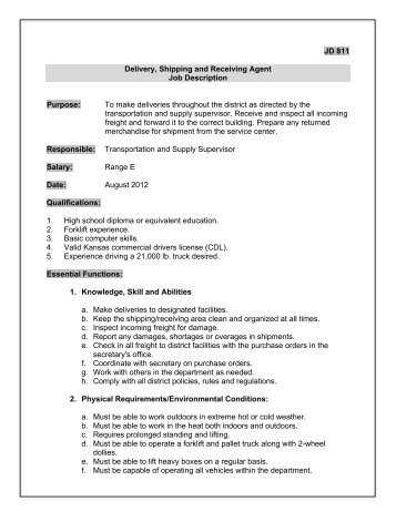 Shipping And Receiving Job Description Warehouse Associate Resume
