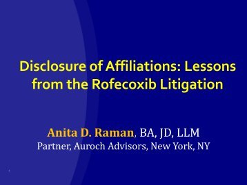 Lessons from the Rofecoxib Litigation - Legal Medicine and Medical ...