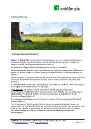 """Pressemitteilung """"ThinkSimple: Konzept und Perspektive"""" Dornach ..."""