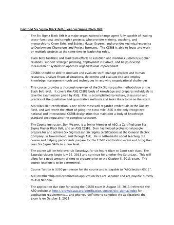 Asq Six Sigma Black Belt Certification Project Affidavit