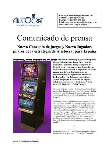 Comunicado de prensa - Gaming & Leisure Magazine