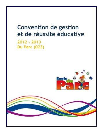 1. Objet de la convention de gestion et de réussite éducative