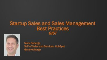 Sales Presentation by Mark Roberge, Hubspot