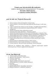 Budownictwo - Tematy prac dyplomowych