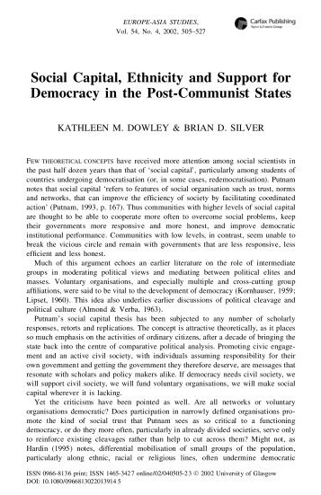 effect of social capital on democracy Social capital definition, the interpersonal relationships, institutions, and other social assets of a society or group that can be used to gain advantage: the impact.