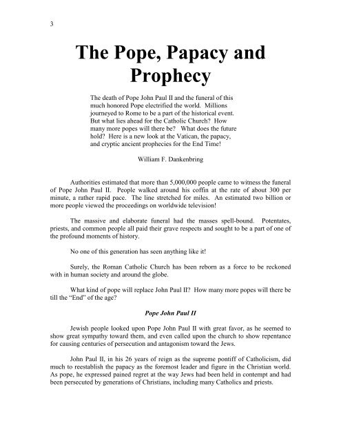 The Pope Papacy And Prophecy Pdf Triumphpro Com