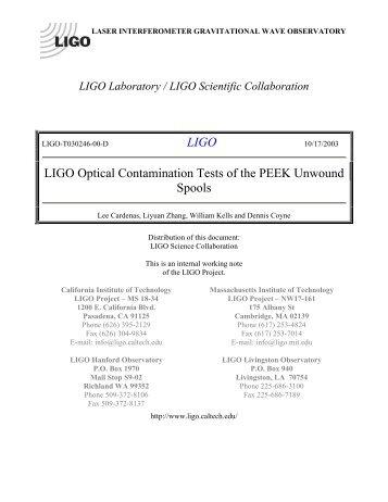 Laser Interferometer Gravitational Wave Observatory - DCC - LIGO ...