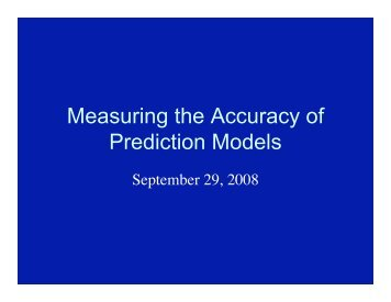 Measuring the Accuracy of Prediction Models - Cleveland Clinic ...