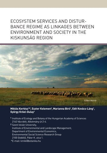 ECOSYSTEM SERVICES AND DISTUR- BANCE REGIME AS ...