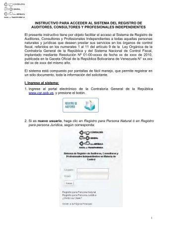 INSTRUCTIVO PARA ACCEDER AL SISTEMA DEL REGISTRO DE ...
