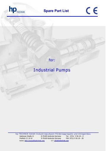 Spare Part List for: Industrial Pumps