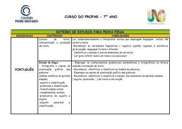 CURSO DO PROPAR - 7º ANO - Faculdade Padre Machado
