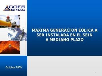 MAXIMA GENERACION EOLICA A SER INSTALADA ... - Tech4CDM