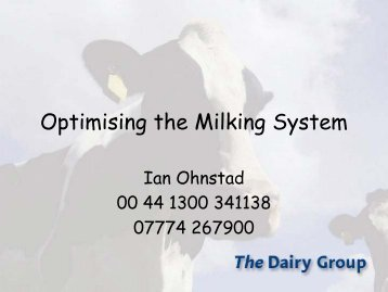 Optimising the Milking System