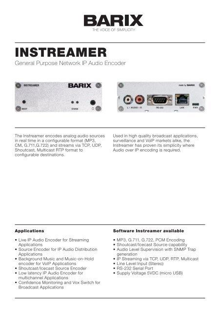 Product Sheet Instreamer V30 (PDF) - Barix