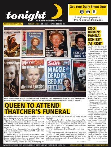 QUEEN TO ATTEND THATCHER'S FUNERAL - tonight Newspaper