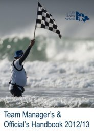 Team manager's & official's handbook - Life Saving Victoria