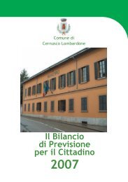 Il Bilancio di Previsione per il Cittadino - Comune di Cernusco ...