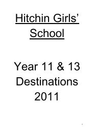 2011 Leaver Destinations - Hitchin Girls School