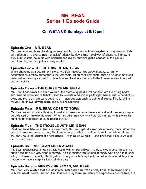 WETA UK Mr  Bean Series 1 Episode Guide pdf